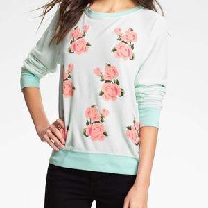 Wildfox Turquoise 'Prairie Rose' Sweatshirt